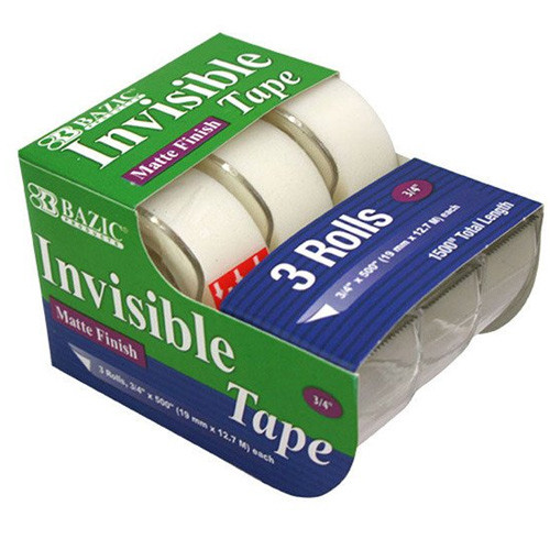 "BAZIC 3/4"" X 500"" Invisible Tape (3/Pack)"