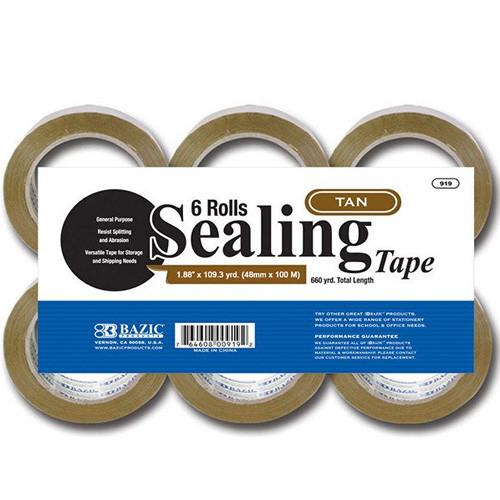 "BAZIC 1.88"" X 109.3 Yards Tan Packing Tape (6/Pack)"