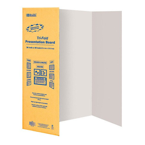 "BAZIC 36"" X 48"" White Tri-Fold Corrugated Presentation Board"