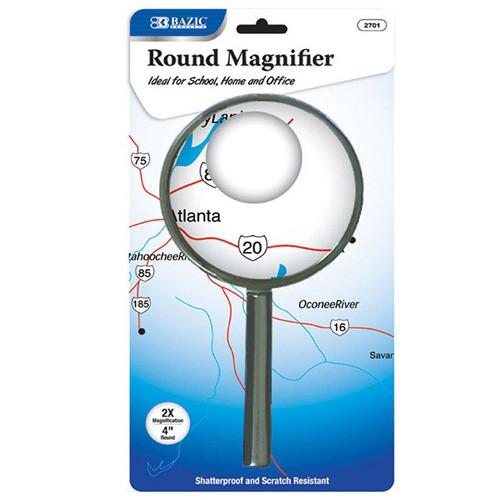 """BAZIC 4"""" Round 2x Handheld Magnifier"""