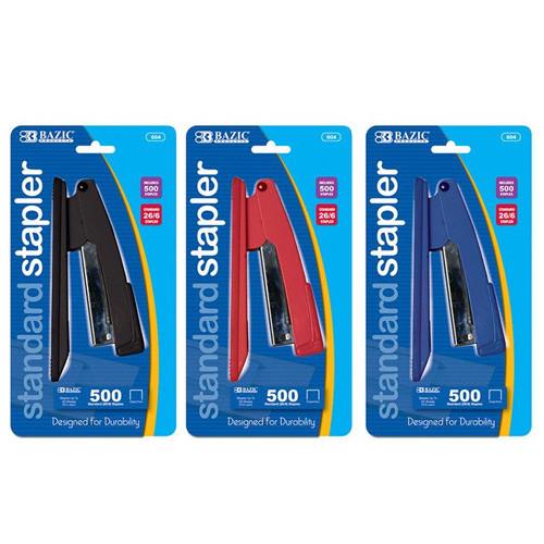 BAZIC Standard (26/6) Metal Stapler W/ 500 Ct. Staples