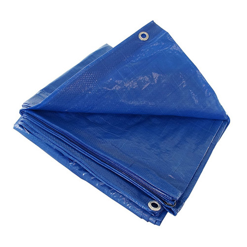 Item #  :   10 X 10 Blue Tarp Cover Patio Canopy Shade Yard   Features:  • Made of durable rip-stop polyethylene laminated on both sides • Heavy duty rust resistant grommets every 3 to 4 feet • All corners are double reinforced with plastic for added strength • Rope reinforced edges • 14 x 14 weave for maximum strength and UV protection • Multi-purpose use • Each in poly bag with colorful insert label   CASE :