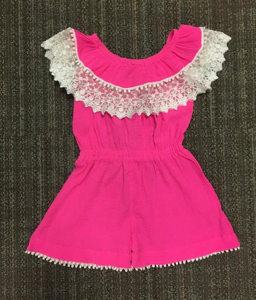 Sample Sale Fluorescent Pink Crinkle Romper