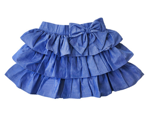Sample Sale Chambray Ruffle Skirt