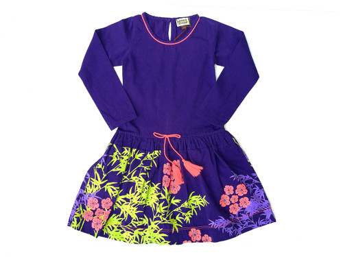 Purple Kimono-Print Drop-Waist Dress