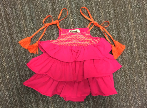 Sample Sale Raspberry Knit Ruffle Romper