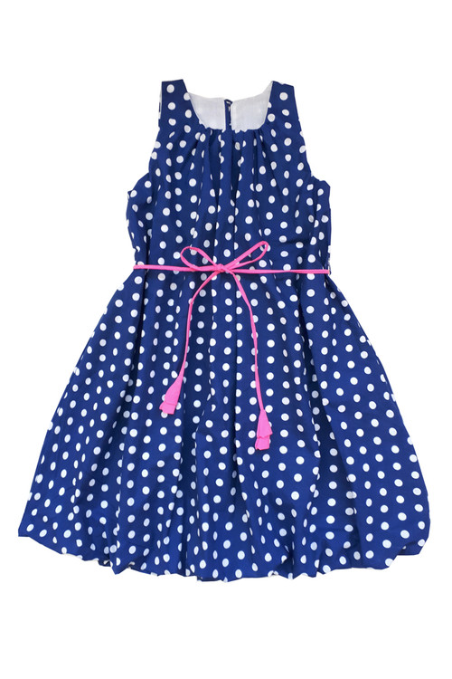 Toddler & Kids Navy & White Polka Dot Dress