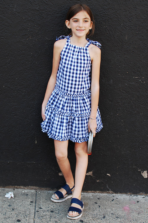 Toddler & Kids Navy Blue Plaid Tiered Dress