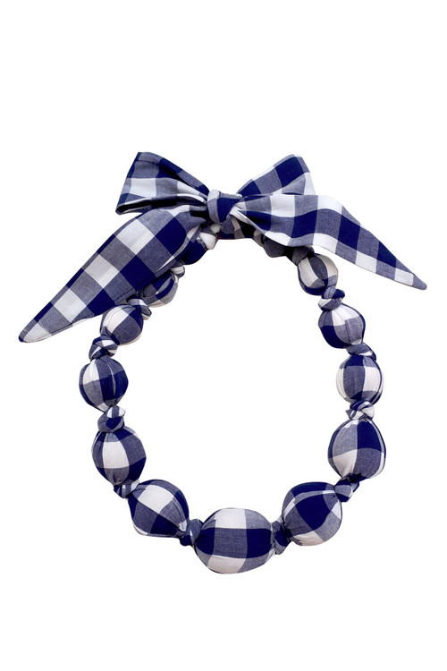 Navy Checks Wooden Bead Necklace