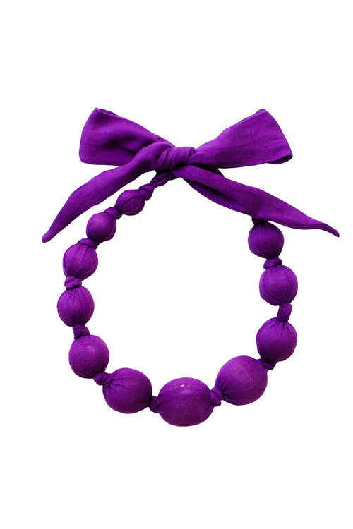 Purple Wooden Bead Necklace