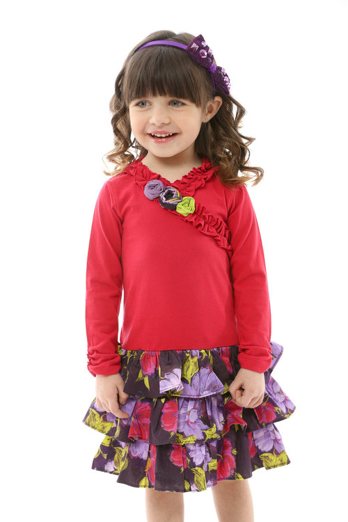 Infant Toddler & Kids Raspberry / Violet Drop-Waist Dress