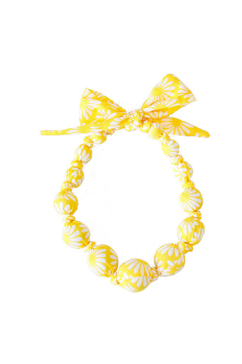 Sunshine Yellow Daisy Wooden Bead Necklace