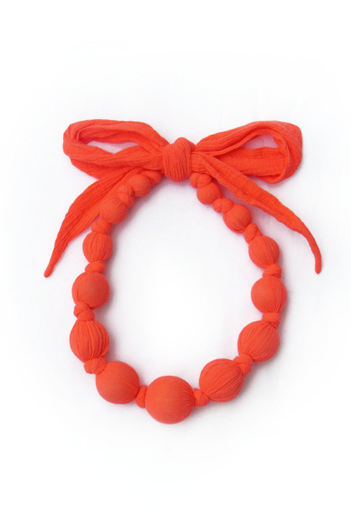 Fluorescent Red  Wooden Bead Necklace