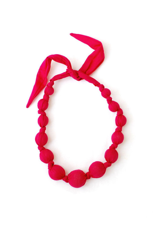 Raspberry Wooden Bead Necklace