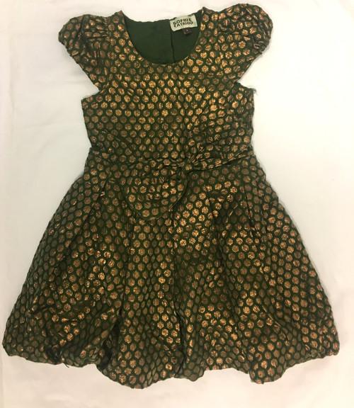 Sample Sale Emerald Metallic Cap Sleeve Dress