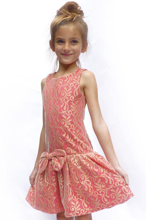 Toddler & Kids Crimson & Gold Lace Drop-Waist Dress