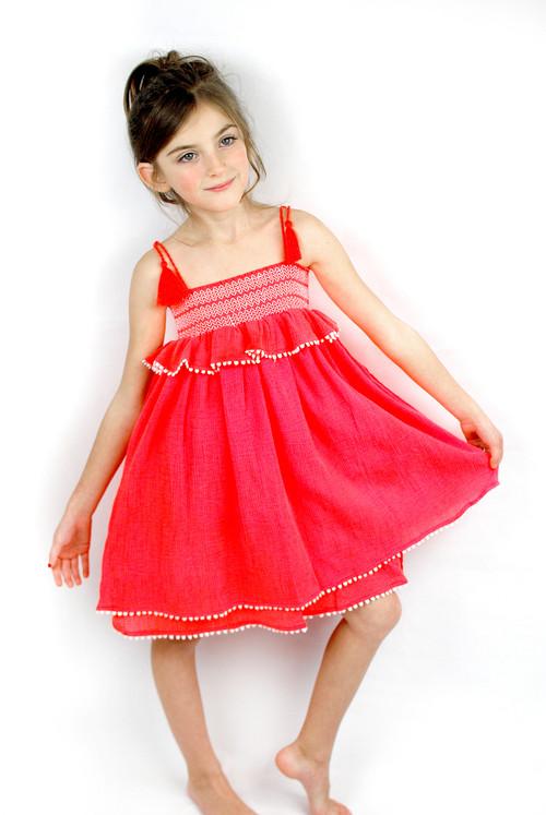 Sample Sale Fluorescent Red Smocked Babydoll Dress