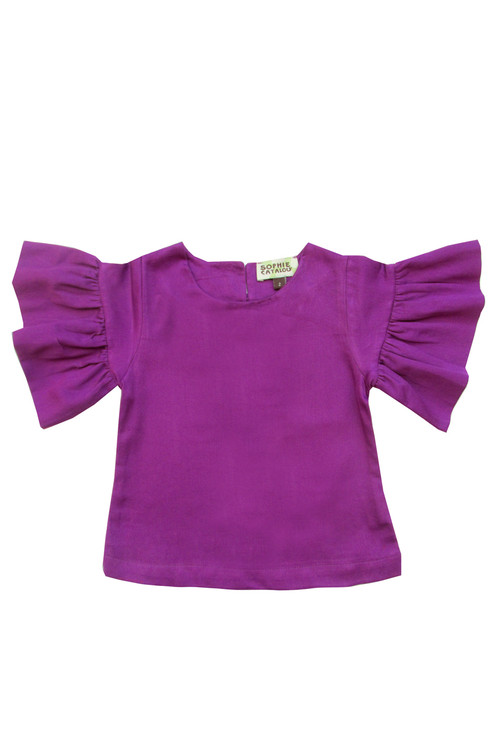 Sample Sale Grape Ruffle Sleeve Top