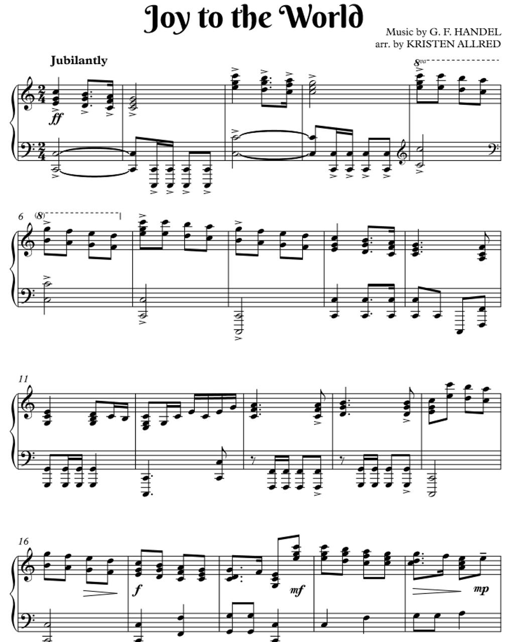 Joy To The World - Piano Solo Sheet Music PDF Download