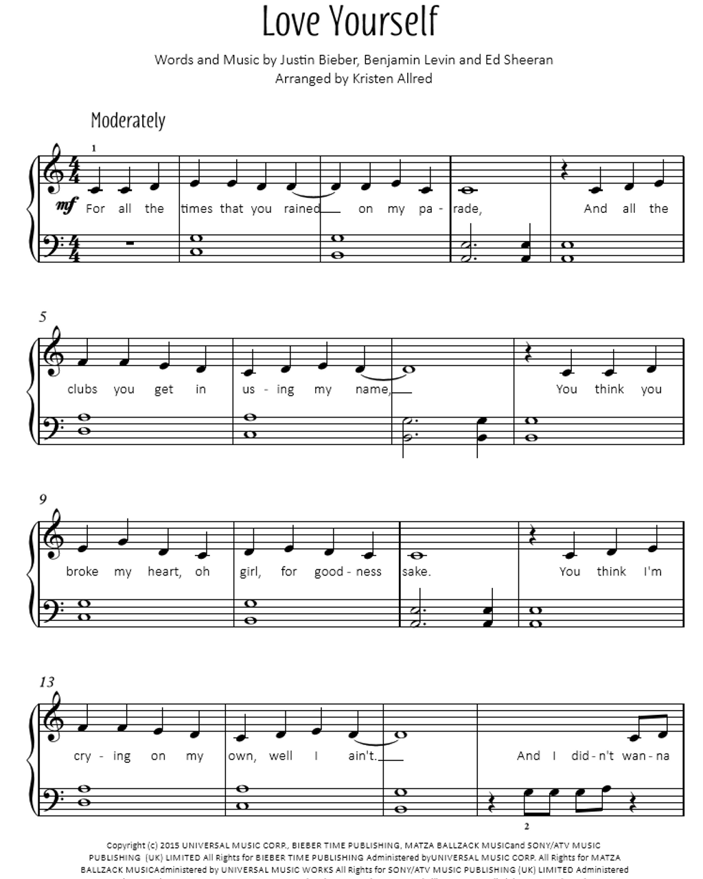 Piano piano sheet music for popular songs : Love Yourself by Justin Beiber - Easy Piano Sheet Music Download