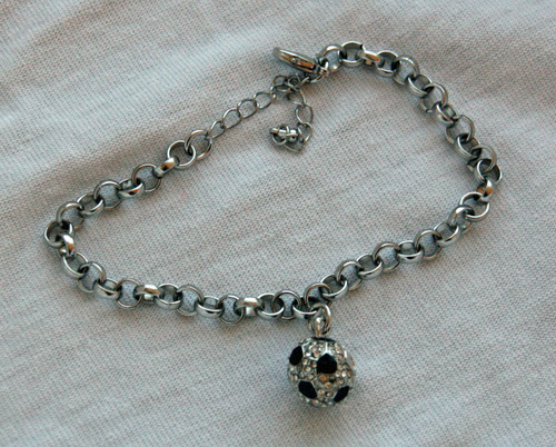 Soccer Ball Bling Necklace - Black/Silver