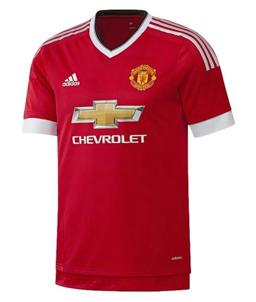 adidas Mens Manchester United 15/16 Home Jersey - Real Red/White/Black