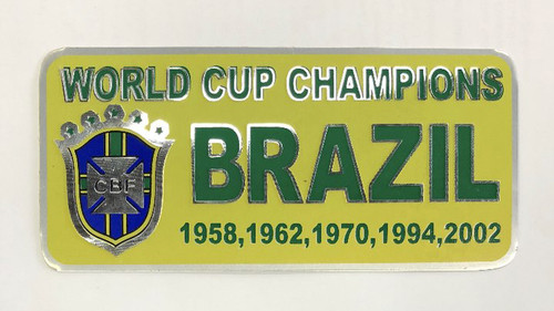 Brazil World Cup Champions Metal Sticker - Yellow/Green (52818)