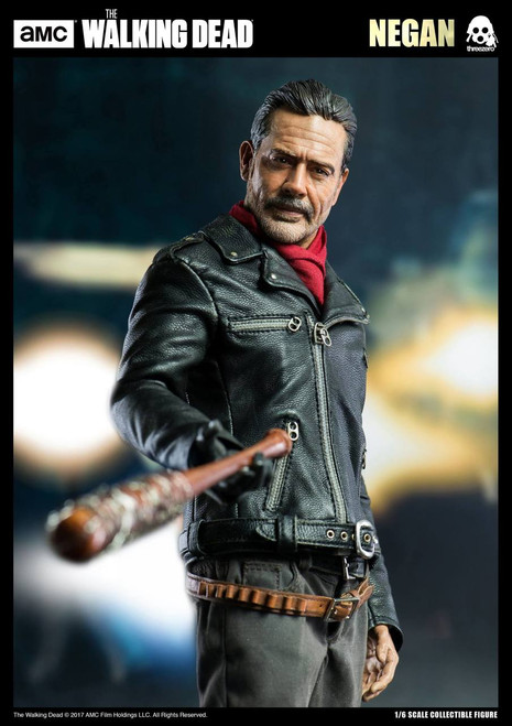 The Walking Dead Negan 1:6 Scale Action Figure: Take one like a champ and give all your belongings to Negan! From the AMC hit TV show, The Walking Dead, comes this 1:6 scale action figure of Negan. Negan stands about 12-inches tall in tailoed clothing and features amazing likeness to actor Jeffrey Dean Morgan. Negan is dressed in his faux-leather jacket, scarf, long sleeved T-shirt, pants with belt, large belt, boots, bandage (on left wrist).   Accessories include:  1x Colt 1911 with detachable magazine  2x Versions of Lucille - Plastic bat with wood finish and embossed wire, and wooden bat with DIY iron wire  1x Hatchet  1x Marker  1x Pair of Relaxed right glove hand and left bare hand  1x Gripped right glove hand (for Colt 1911)  1x Pair of gripped right glove hand and left bare hand (for bat)  1x Glove right opened hand  1x Bare left fist