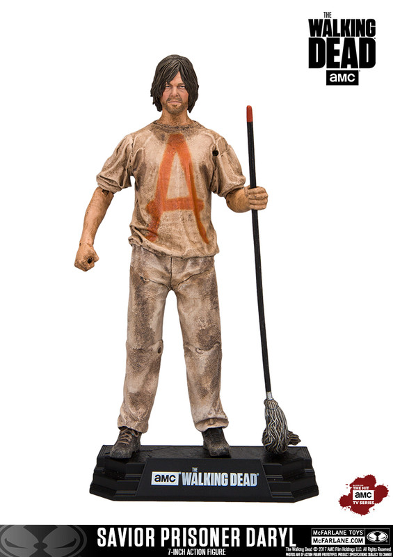 The Walking Dead Savior Prisoner Daryl 7-Inch Action Figure: From AMC's hit television show The Walking Dead come this Daryl 7-Inch Action Figure! This 7-inch figure sports a spectacular likeness of actor Norman Reedus, taken from 3-D scans of the actor himself. Daryl is featured in his savior prisoner outfit and his mop as seen in season 7. Complete with 15 points of articulation, this Walking Dead Ezekiel 7-Inch Action Figure comes with a stylized Walking Dead branded display base and showcased in window box packaging. Ages 12 and up.  After Negan executed some members of Rick's group, he instructed the Saviors to take Daryl hostage. Taking Daryl as an insurance policy, Negan informed Rick that he would comply with Negan's rules, or else his prisoner, Daryl, would suffer dire consequences.