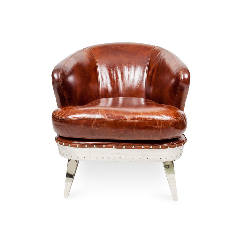 Aviator Leather Armchair - Striking industrial steam punk inspired brown aged leather armchair with aluminium sheeting and rivets. Settle in and relax, taking advantage of the wide deeply cushioned seat, curved back and premium vintage leather. Front view.