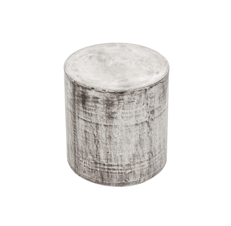 Concrete Look Stool Round - A concrete look stool or side table that would fit easily into any industrial or contemporary setting.Our Stone collection is made from fibre reinforced cement - a composite material of natural fibres, cement stone powder and a natural, latex based waterproofing agent making them extremely durable for Australian outdoor conditions. Look stunning indoors or outdoors and suitable for commercial use. Add style to your outdoor setting. Angle view.