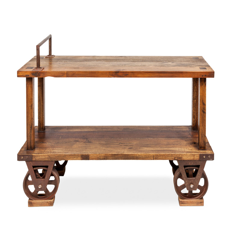 Railway Console - add some industrial edge with this hand crafted rustic timber console table. With aged metal wheels as a nod to early 1900s craftsmanship, our reclaimed walnut console has an open shelf to store the essentials, together with a metal feature handle, wheels, metal accents and dove tail joins. The perfect industrial or Country Farmhouse accent. Front view.