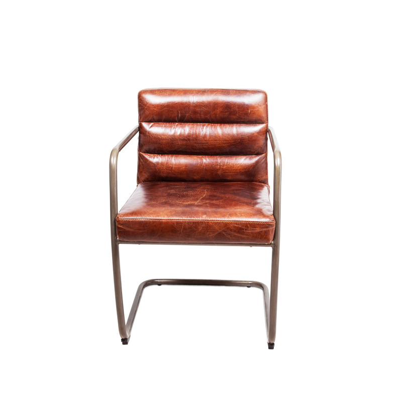 Our aged leather B52 chair with cantilever steel base is a superbly comfortable desk chair, office chair, or occasional armchair. With its channel back cushion stitching and supportive frame, the B52 chair will make sure you are comfortable and relaxed as you put together those big deals. Front view.