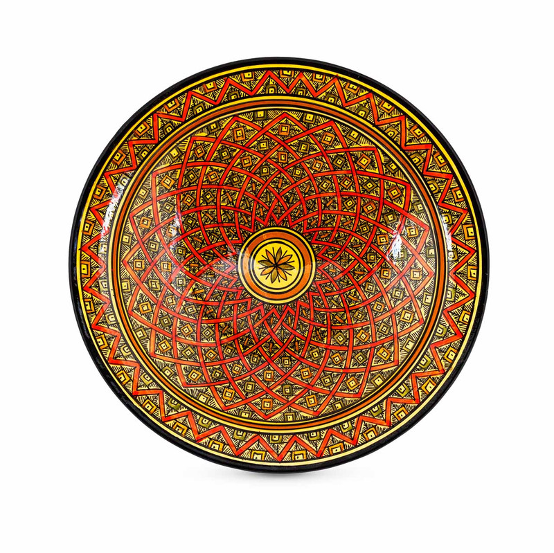 Moroccan Ceramic Bowl Red 33cm