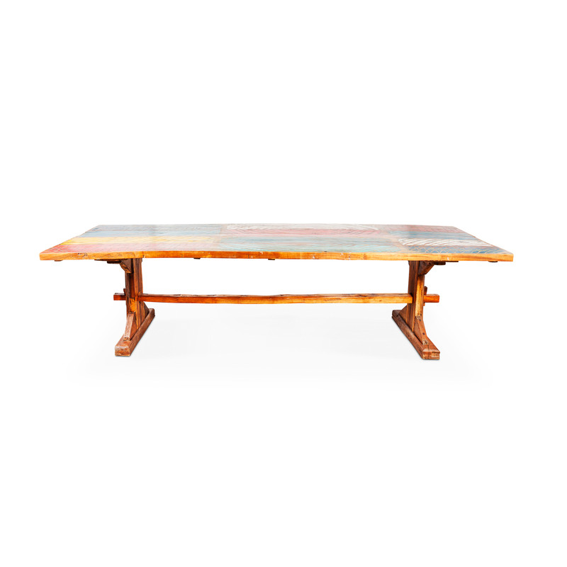 reclaimed boat timber dining table