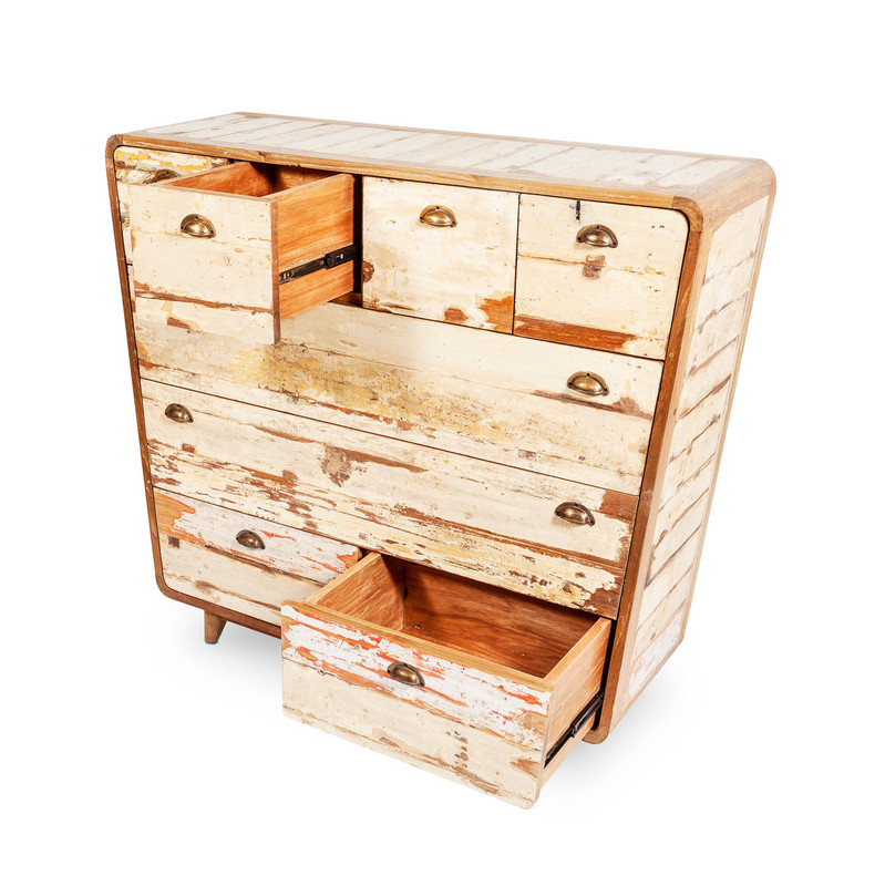 recycled timber chest of drawers
