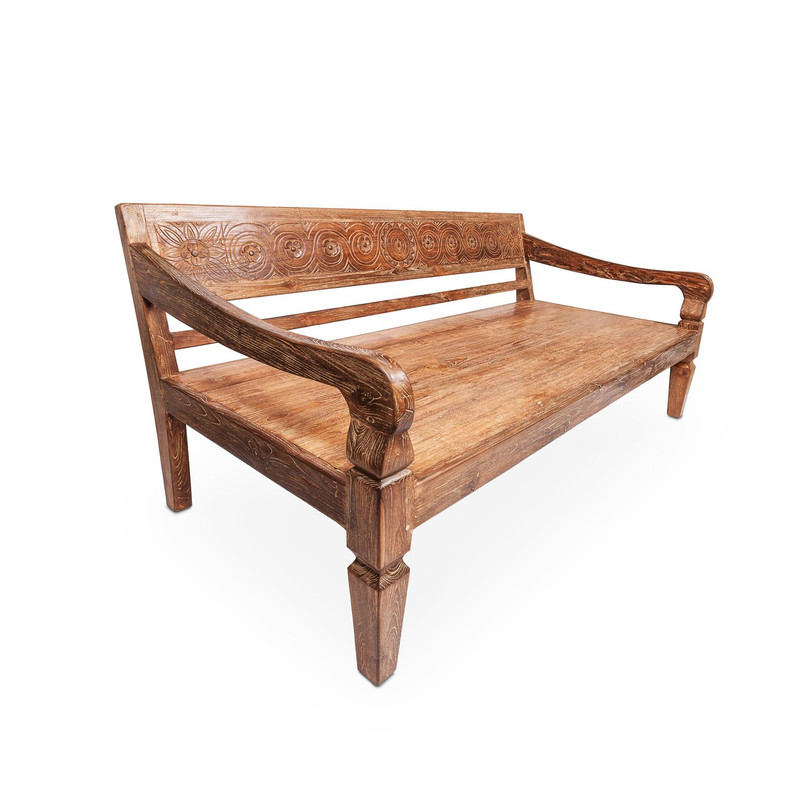 Recycled Teak Day Bed -  hand crafted reclaimed teak daybed with carved back suitable for indoor or outdoor use. Comes with seat cushion (not pictured). Three quarter view.
