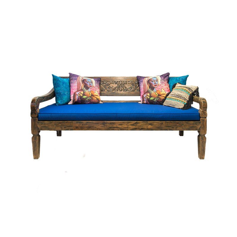 Hand Carved Teak Day Bed - hand crafted teak daybed suitable for indoor or outdoor use. Comes with seat cushion. Front view with seat cushion.
