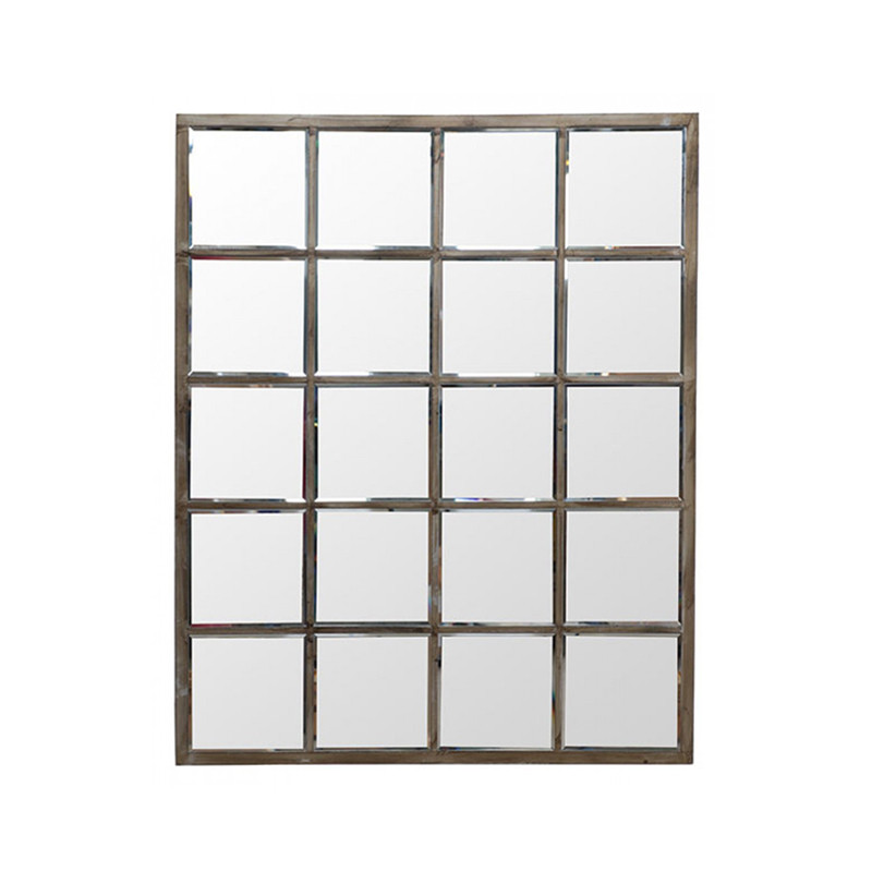 Rectangular Mirror Grille - add sleek industrial edge with this metallic grille wall mirror. Perfect for modern, minimalist, or industrial design spaces.