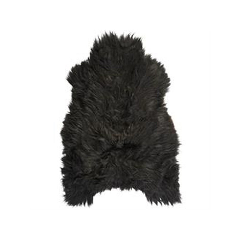Icelandic Sheepskin Black Brown. Add warmth, texture and luxury to your space with this naturally silky soft Icelandic sheepskin throw rug in black brown. Front view.