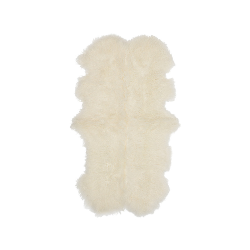 Mongolian Sheepskin Throw White. Add warmth, texture and luxury to your space with this naturally silky soft sheepskin throw rug in white. Front view.