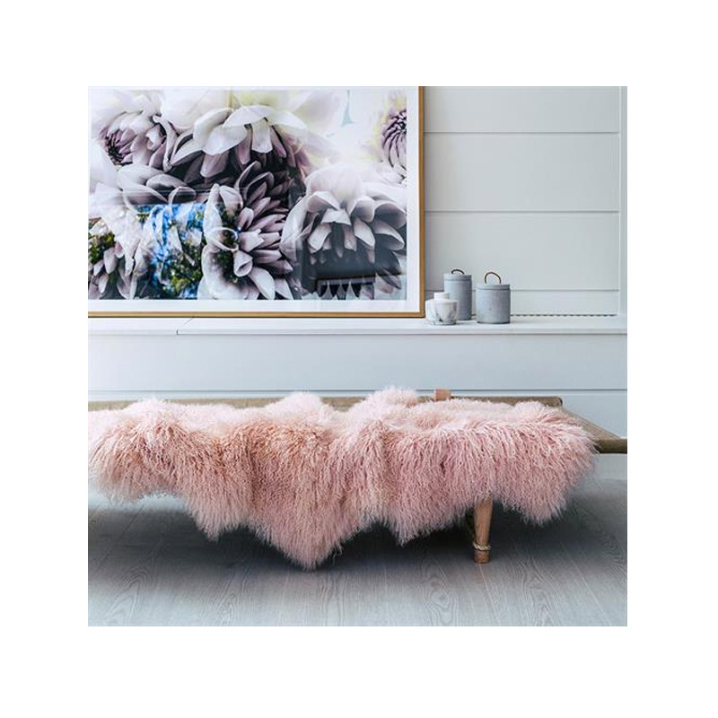 Mongolian Sheepskin Throw Rug Blush Pink