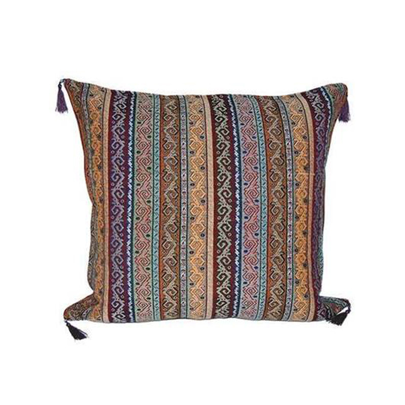 Our Turkish Cushion Dort is created using the highest quality fabrics with traditional Turkish designs. Ottoman period fabrics were highly regarded by the court as the pinnacle of textile workmanship.  Featuring bright and contrasting colours, our Turkish Cushion Dort will bring life and vibrancy to every setting. Front view.