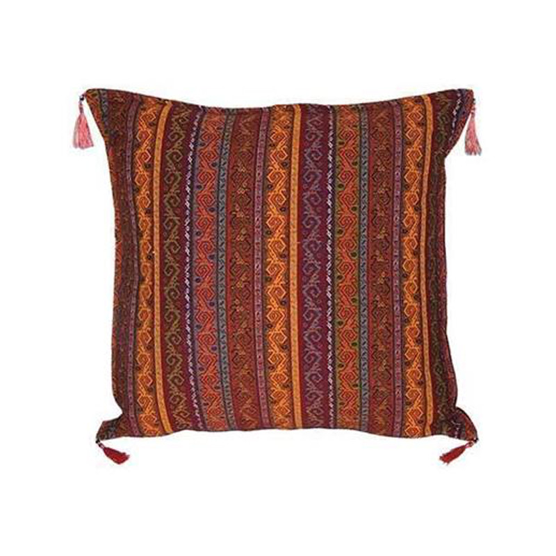 Our Turkish Cushion Uc is created using the highest quality fabrics with traditional Turkish designs. Ottoman period fabrics were highly regarded by the court as the pinnacle of textile workmanship.  Featuring bright and contrasting colours, our Turkish Cushion Uc will bring life and vibrancy to every setting with its rich patterning. Front view.