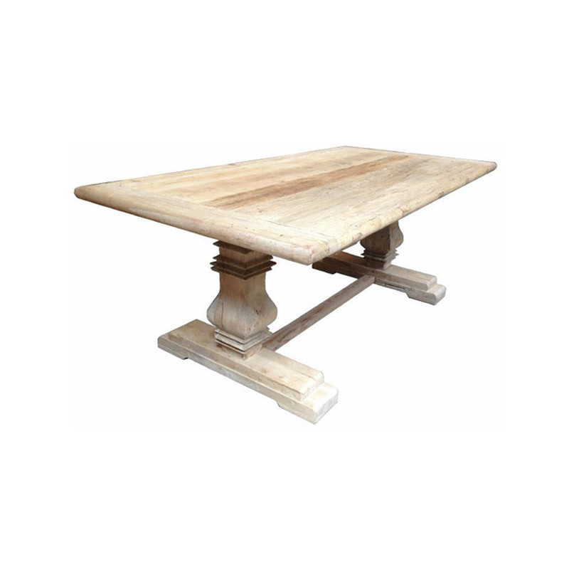 Barcelona Dining Table - this stunning recycled Elm dining table with turned legs and stretcher lends itself to long dinner parties and feasts with 10-12 of your closest friends. Perfect for upmarket Country, Hamptons, and French Provincial spaces.