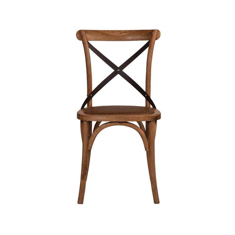 Crossback Chair Oak Dark Aged Metal Strap  - classic cross back chair design perfect for Hamptons, French Provincial, or Industrial themes. Suitable for residential or commercial dining settings. Aged dark metal strap adds character and charm to this timeless crossback dining chair. Front view.