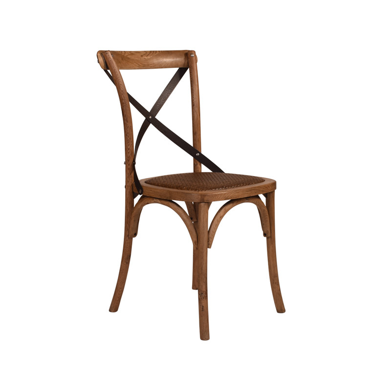 Crossback Chair Oak Dark Aged Metal Strap