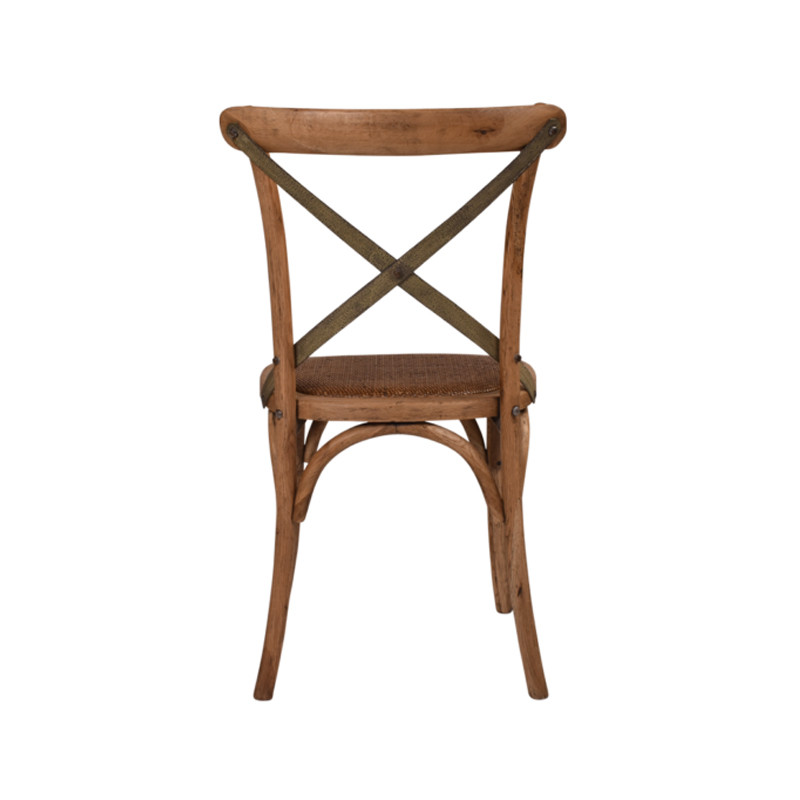 Crossback Chair Oak Grey Aged Metal Strap