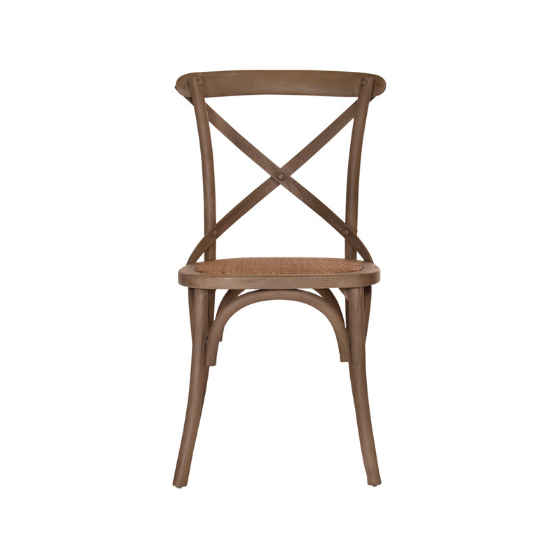 Crossback Chair in Washed Grey  - timeless cross back chair design perfect for Hamptons, French Provincial, or Industrial themes. Suitable for residential or commercial settings. Front view.