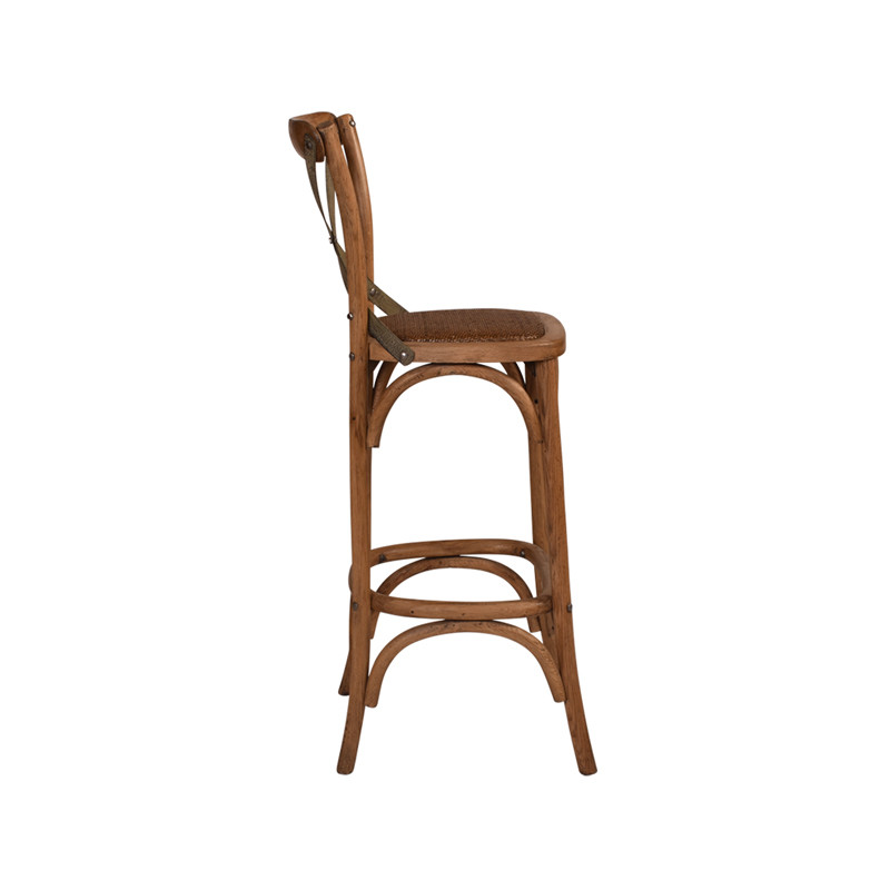 Crossback Stool Oak with Dark Aged Metal Strap - timeless bar or counter stool cross back design perfect for Hamptons, French Provincial, or Industrial themes. Suitable for residential or commercial. Side view.